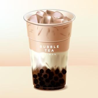 Холодный черный или коричневый сахар со льдом тайваньский пузырьковый чай боба или чай с молоком