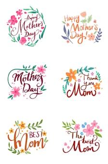 母の日さまざまな水彩花装飾フォントグリーティングカード