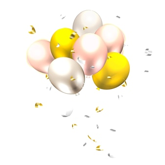 Золото и серебро триколор смешанные украшения воздушные шары