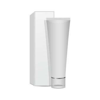白い背景で隔離の歯磨き粉のモックアップデザインイラスト