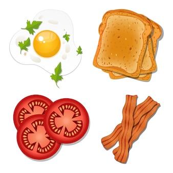 白い背景で隔離の朝食フードデザインイラスト