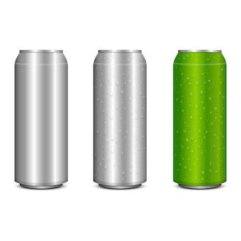 現実的な金属ソーダは、白い背景で隔離の図を設計できます。