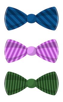 白い背景に分離されたスタイリッシュな蝶ネクタイデザインイラスト