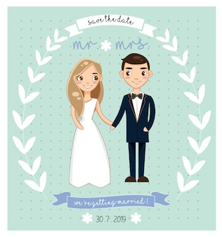 かわいい花嫁と花婿のキャラクターと結婚式の招待状のグリーティングカード。