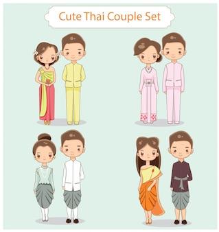 Векторный набор симпатичной тайской пары в традиционной одежде