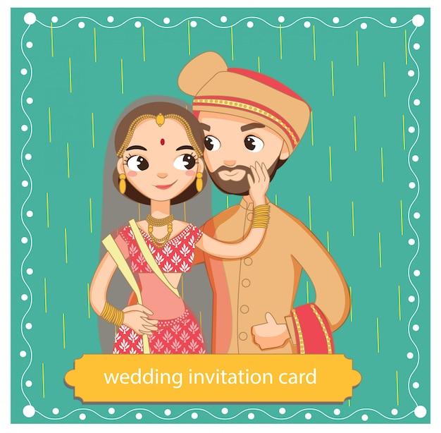 かわいいインド人カップルの伝統的なドレス