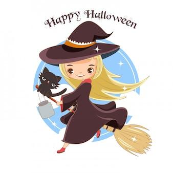 Симпатичная ведьма и черная кошка для концепции хэллоуина