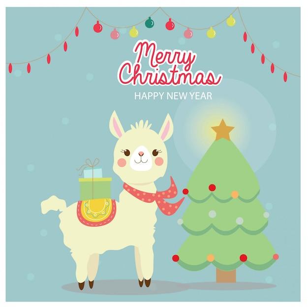 クリスマスグリーティングカードのかわいいラマ