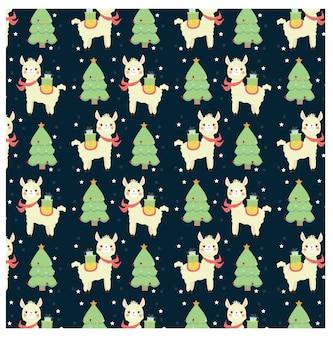 かわいいラマとクリスマスツリーのパターン