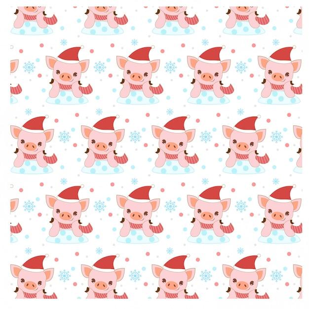 クリスマスの衣装でかわいい幸せな豚のパターン