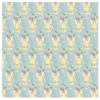ウサギとクリスマスリーフのパターン