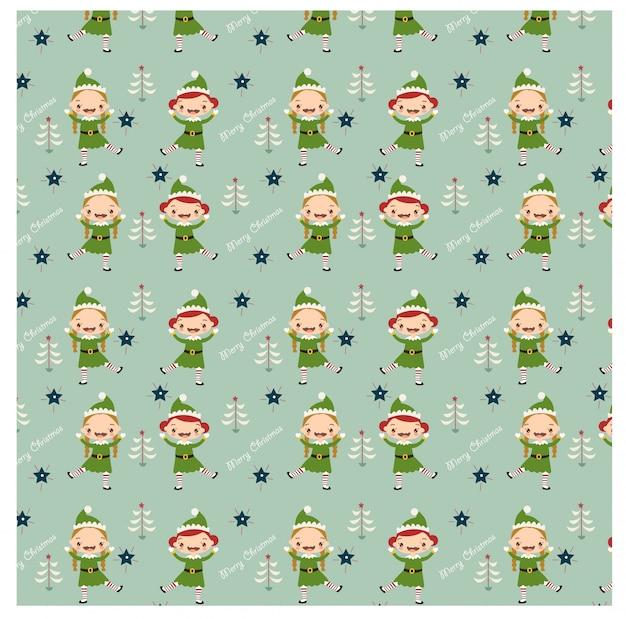幸せなエルフと踊るクリスマスのパターン