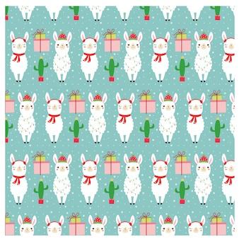 クリスマステーマのためのラマとギフトのパターン