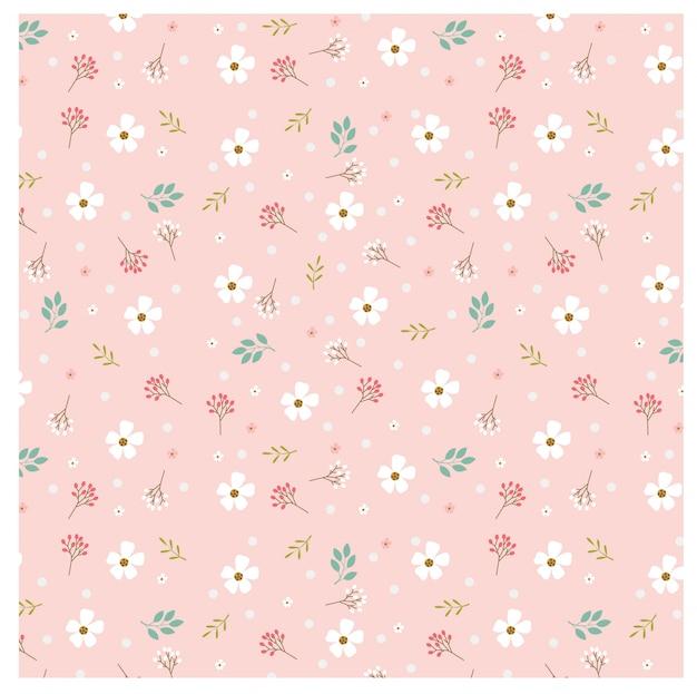 ピンクの背景にパステルの花とポルカドットのパターン