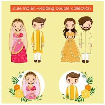 かわいいインドの結婚式のカップル伝統的なドレスコレクション