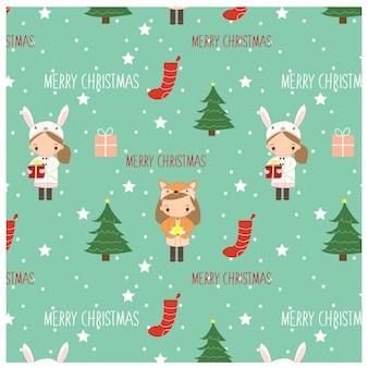 女の子とクリスマスの要素のパターン