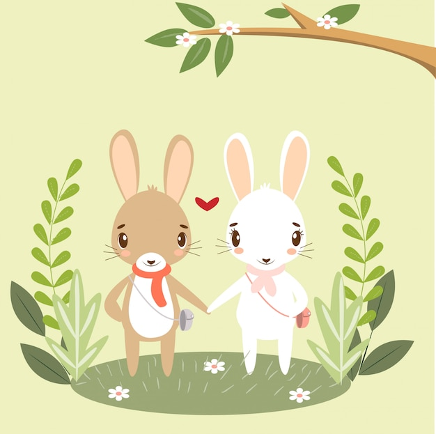 バレンタインカードのロマンチックなバニーカップル