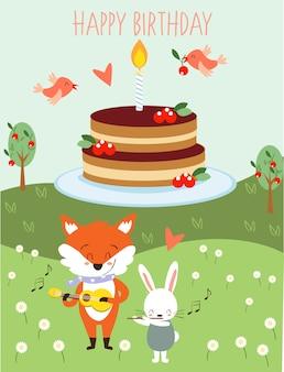 Симпатичное животное поет в поздравительной открытке