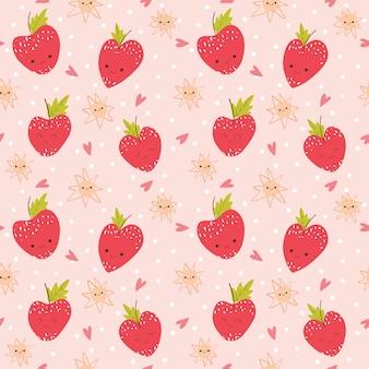 かわいいイチゴとハート柄/背景