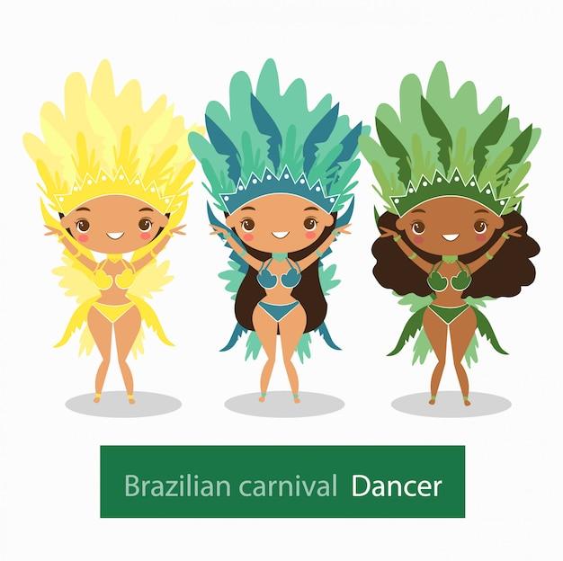 ブラジルのカーニバルダンサーの衣装の女性たち