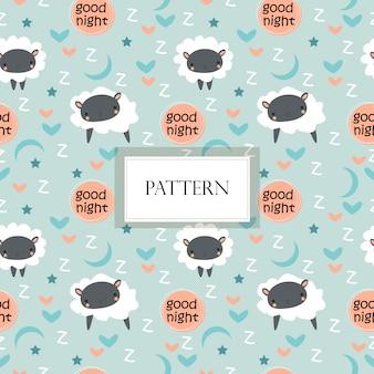 かわいい羊、星と月のシームレスパターン