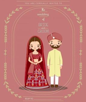 結婚式の招待状のかわいいインドカップル