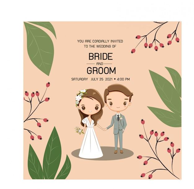 結婚式の招待カードのためのかわいい結婚式のカップル