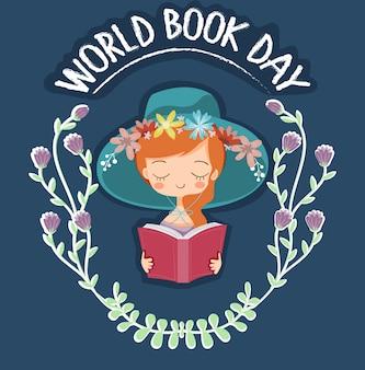 Милая книга чтения девушки для знамени дня книжного мира
