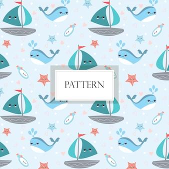 かわいい海洋生物落書きシームレスパターン