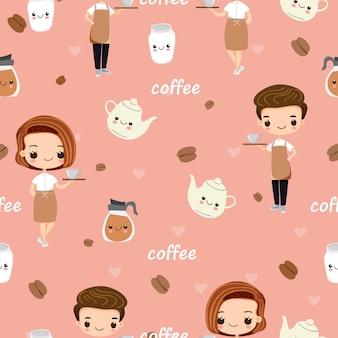 かわいいバリスタとコーヒーのシームレスパターン