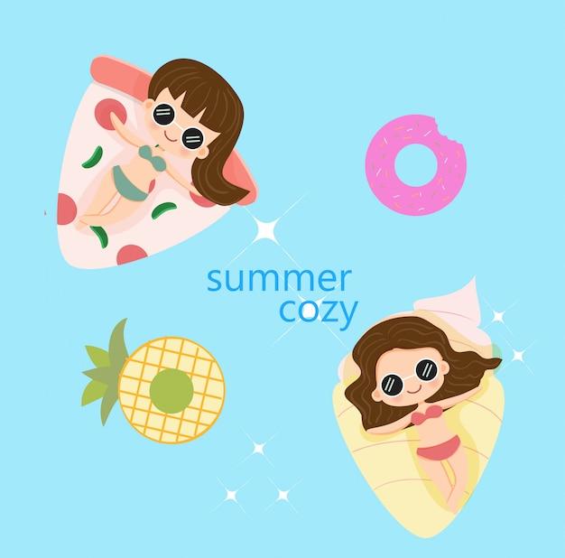 かわいい女の子の幸せな夏休み