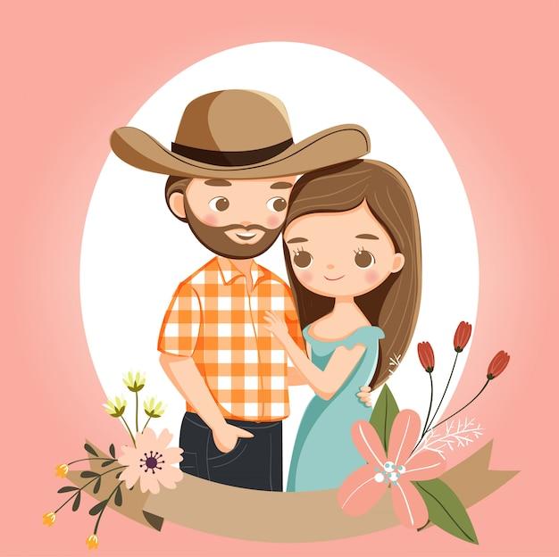 Симпатичная деревенская пара для приглашения на свадьбу