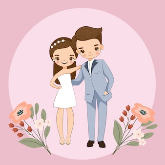 結婚式の招待状のかわいいカップル