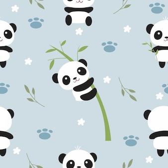 Симпатичные панда и бамбуковое дерево бесшовные модели