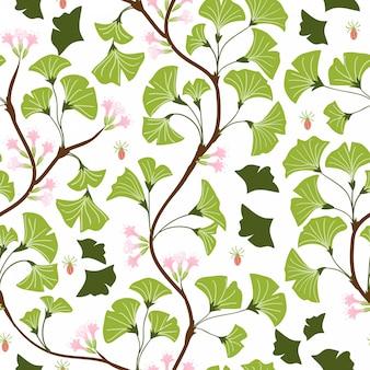 イチョウの葉と花のシームレスパターン