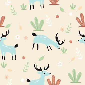 Бесшовный узор милый олень в лесу
