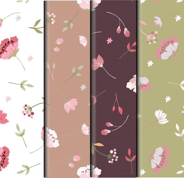 さまざまなピンクの野生の花のシームレスパターン