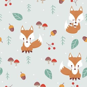 森林パターンのキツネ