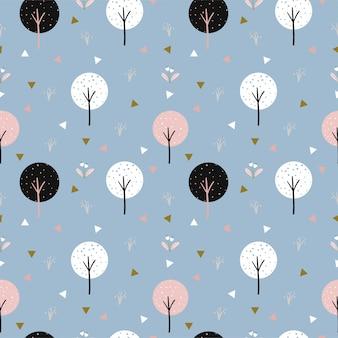 子供の生地のかわいい木と三角形のシームレスパターン