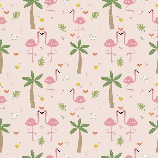 Фламинго птица и растение бесшовные модели
