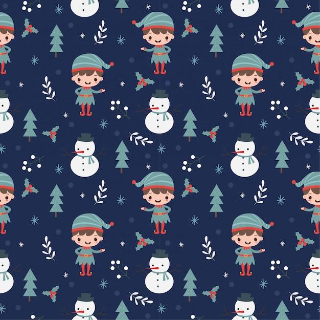 Эльф, снеговик и рождественские элементы бесшовный фон