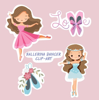 Симпатичная балерина танцор девушка набор