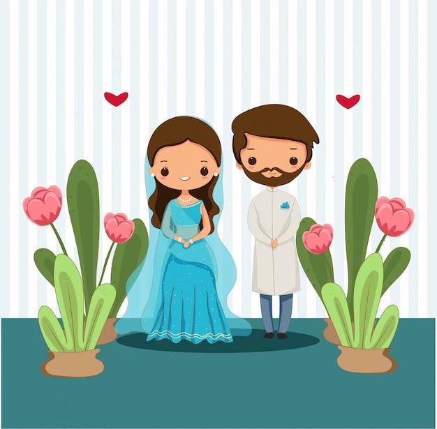 結婚式イラストの伝統的な衣装でかわいいインドのカップル