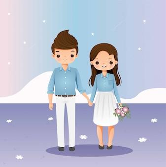 イラストを一緒に手を繋いでいるかわいいカップル