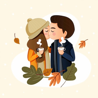 Счастливая милая пара целуется в зимний праздник