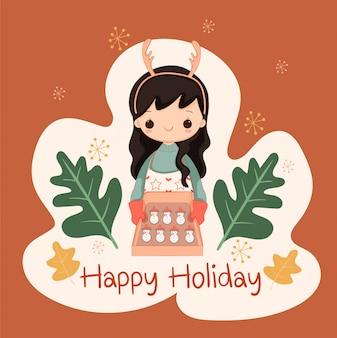 クリスマスと休日のイベントの雪だるまシュガークッキーを焼くかわいい女の子