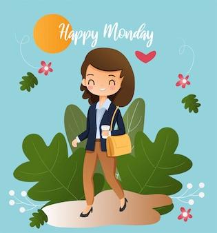 Милая работающая девушка чувствует себя счастливым идти в офис в понедельник