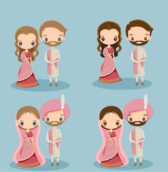 Симпатичные индийские жених и невеста в традиционном платье для свадебного приглашения