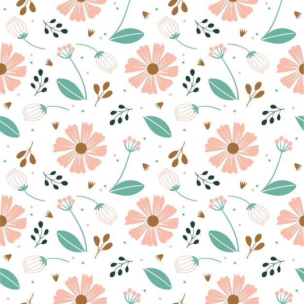 さまざまな花と葉のシームレスパターン