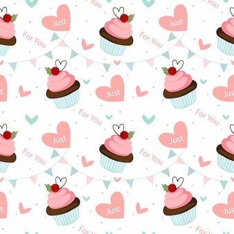 チョコレートカップケーキとバレンタイン要素のシームレスパターン